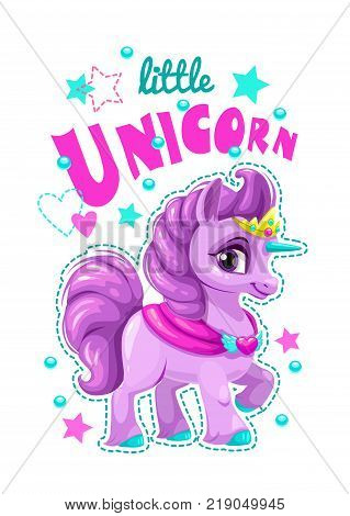 Little cute cartoon unicorn label. Vector girlish print for t shirt design. Sweet pony princess.