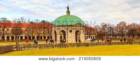Munich, Germany - December 26, 2016: The Hofgarten Court Garden and temple of diana in the center of Munich, Germany