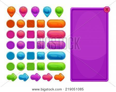 Cute colorful abstract assets for game or web design. Buttons, arrows, map pointers and panel bundle. Vector GUI items, isolated on white background.