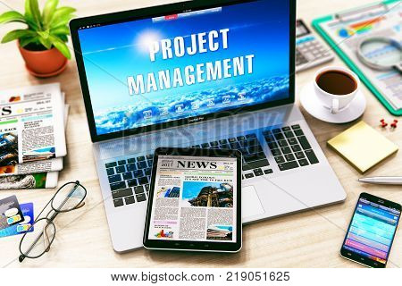 Creative abstract project management business marketing internet web concept: 3D render illustration of laptop with Project Management word text message on the office table with other objects - tablet computer PC smartphone or mobile phone etc.
