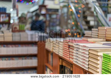 image of Abstract Blur people at book store in shopping mall for background usage