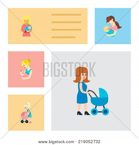 Icon flat mother set of nanny, mother, perambulator and other vector objects. Also includes mother, baby, perambulator elements.