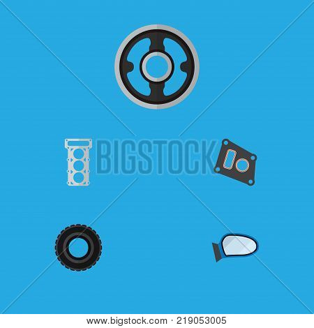 Icon flat component set of tire, mirror wing, pulley and other vector objects. Also includes car, packing, gasket elements.