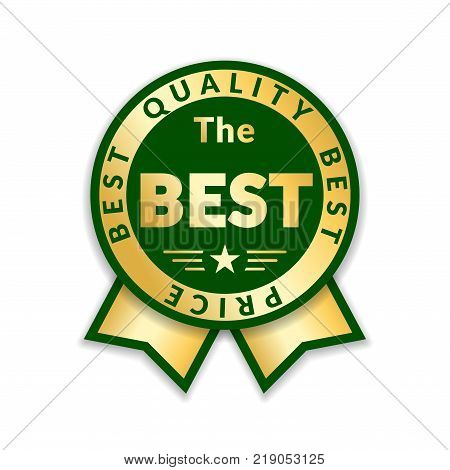 Ribbon award best price label. Gold ribbon award icon isolated white background. Best quality golden design for badge medal best choice price certificate guarantee product Vector illustration