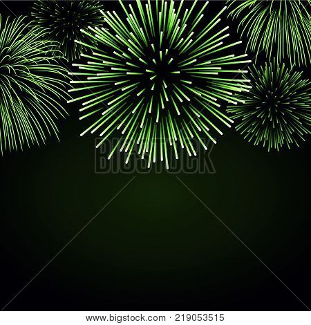 Firework sparkle background card. Beautiful bright fireworks isolated on black background. Light green decoration fireworks for Christmas card New Year celebration Vector illustration
