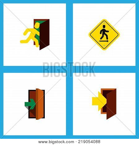 Icon flat emergency set of evacuation, road sign, entrance and other vector objects. Also includes door, entrance, entry elements.