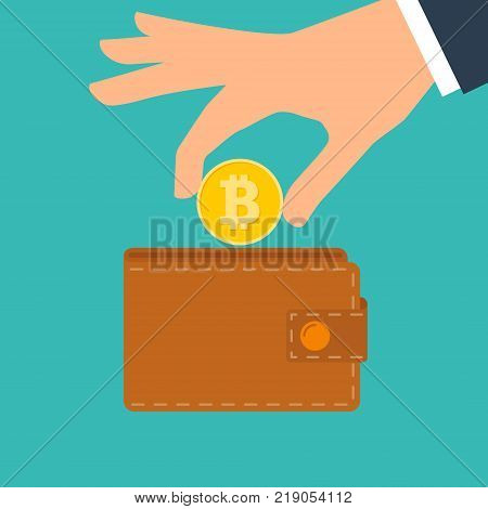 Bitcoin Wallet Vector. Brown Color. Abstract Technology Bitcoin. Cryptography Finance Coin