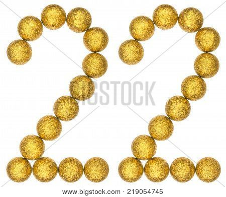 Numeral 22 twenty two from decorative balls isolated on white background