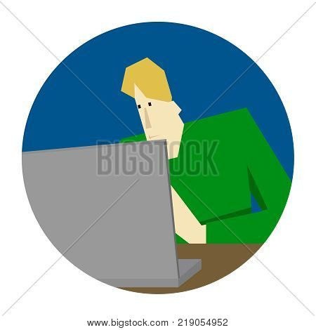 programmer working and coding by the computer, vector sign, icon, banner