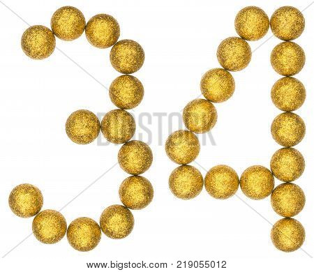Numeral 34 thirty four from decorative balls isolated on white background