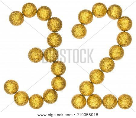 Numeral 32 thirty two from decorative balls isolated on white background