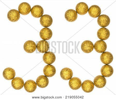 Numeral 33 thirty three from decorative balls isolated on white background