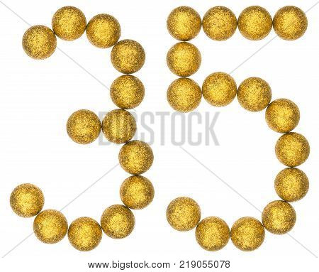 Numeral 35 thirty five from decorative balls isolated on white background