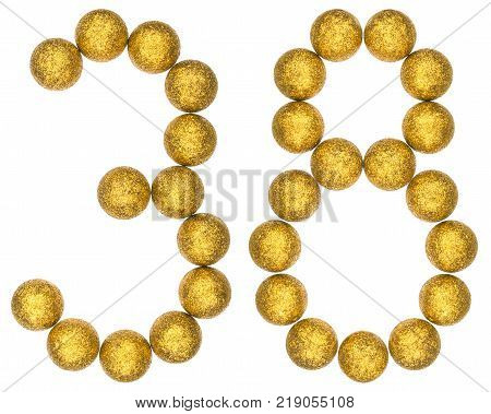 Numeral 38 thirty eight from decorative balls isolated on white background