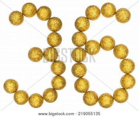 Numeral 36 thirty six from decorative balls isolated on white background