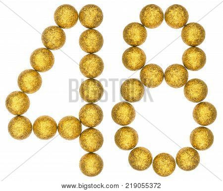 Numeral 48 forty eight from decorative balls isolated on white background