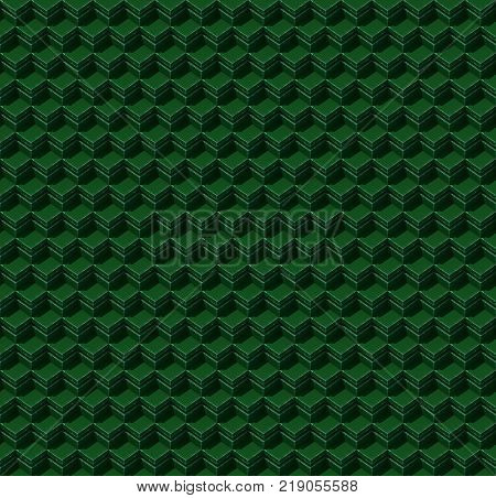 Abstract seamless isometric green cubes. Background pattern. 3d rendering