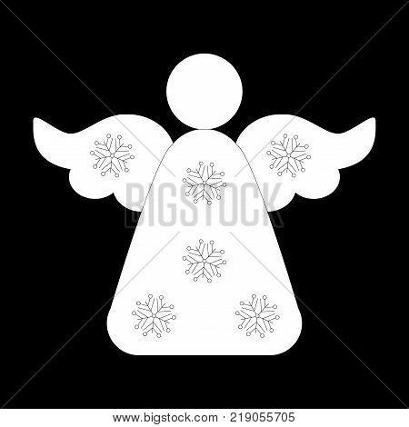 Angel Icon Symbol Design. Vector illustration of Angel silhouette isolated on black background. Flat design. Can be use for decoration gifts greetings holidays etc.