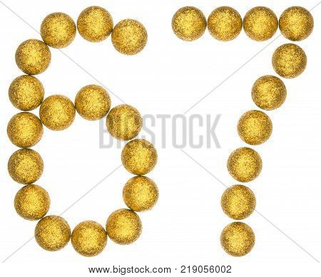 Numeral 67 sixty seven from decorative balls isolated on white background