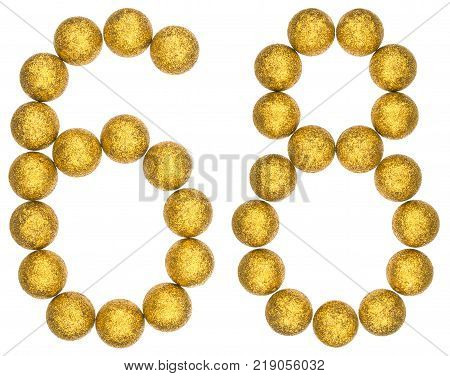 Numeral 68 sixty eight from decorative balls isolated on white background
