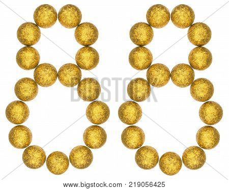 Numeral 88 eighty eight from decorative balls isolated on white background
