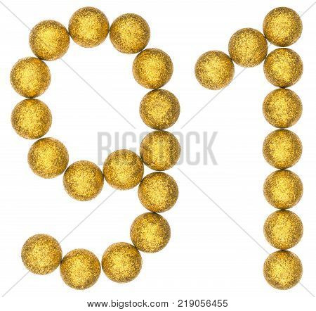 Numeral 91 ninety one from decorative balls isolated on white background