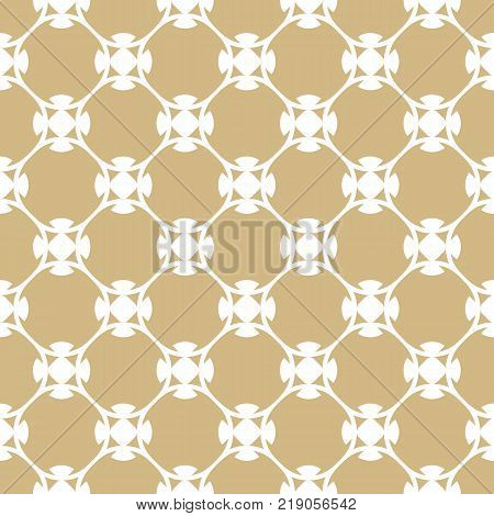 Vector golden ornament pattern in Arabian style. White and gold elegant floral seamless texture with curved geometric shapes. Abstract ornamental background. Repeat design for decor, fabric, textile. Golden texture. Golden pattern. Golden background