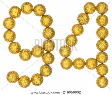 Numeral 94 ninety four from decorative balls isolated on white background