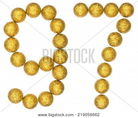 Numeral 97 ninety seven from decorative balls isolated on white background
