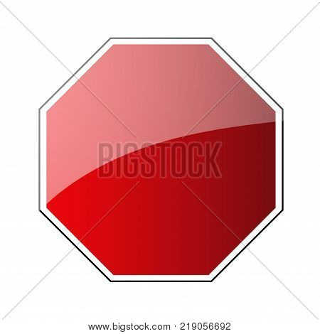 Stop traffic road sign blank. Prohibited red octagon road sign isolated on white background. Glossy stop roadsign icon. No transportation attention icon. Vector illustration
