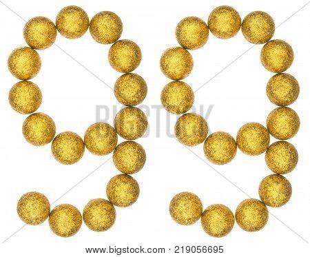 Numeral 99 ninety nine from decorative balls isolated on white background