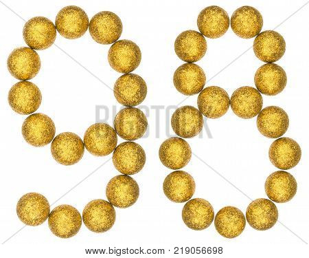 Numeral 98 ninety eight from decorative balls isolated on white background