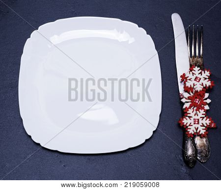 square white empty plate iron fok and knife