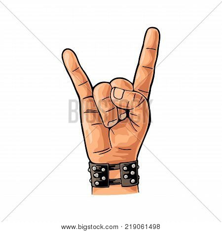 Rock and Roll sign. Hand with metal spiked bracelet giving the devil horns gesture. Vector color vintage flat illustration. Isolated on white background.