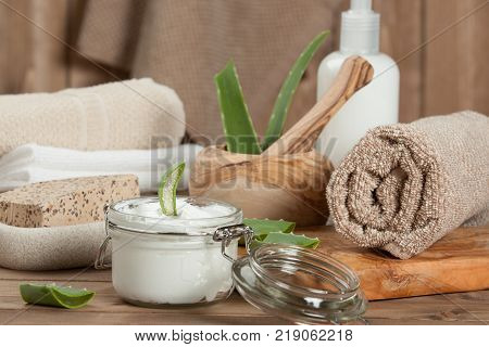 Spa Room. Cream, Toiletries, Soap, Shampoo, Towels. Body Care Kit