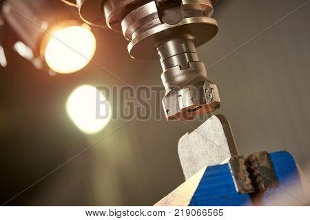 Metalworking. Milling the metal detail in factory
