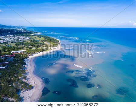 Aerial view of resorts in Puerto Plata in Dominican Republic.