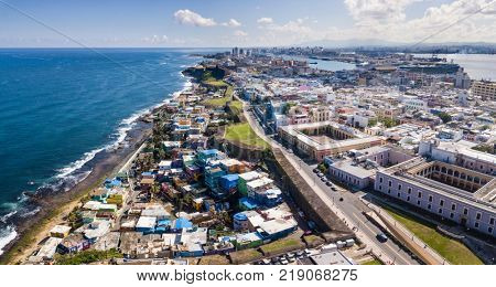 Aerial view of old San Juan, Puerto Rico and La Perla slum.