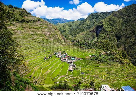 Villige at 2000-year old Batad Rice Terraces, UNESCO Heritage, Central Luzon on Philipines, Southeast Asia