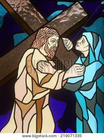 RIJEKA, CROATIA - JUNE 11: 4th Stations of the Cross, Jesus meets His Mother, stained-glass window in the church of St. John the Baptist in Rijeka, Croatia, on June 11, 2011