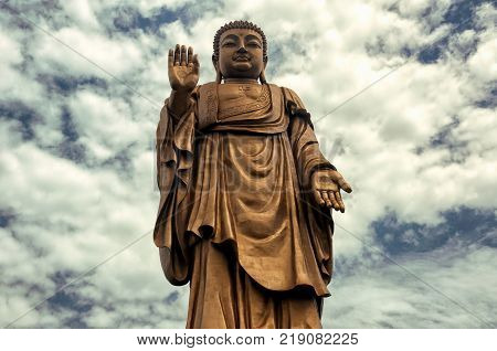The large standing buddha statue of Lingshan Grand Buddha scenic area in Wuxi China Jiangsu province.