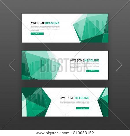 3d lowpoly solid abstract corporate banner or web slideshow template. Horizontal advertising business banner or website slider layout templates set.