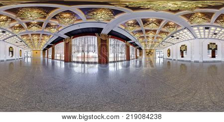 MINSK BELARUS - JULY 28 2016: Panorama in interior of a huge empty banquet hall. Full 360 by 180 degree seamless spherical panorama in equirectangular equidistant projection