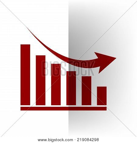 Declining graph sign. Vector. Bordo icon on white bending paper background.