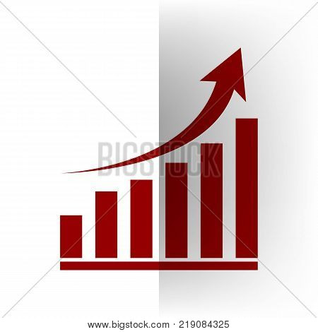 Growing graph sign. Vector. Bordo icon on white bending paper background.