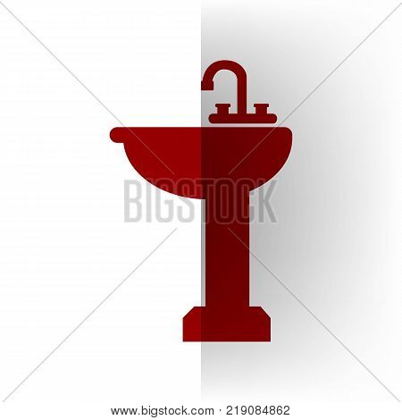 Bathroom sink sign. Vector. Bordo icon on white bending paper background.