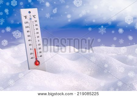 Thermometer in the snow against the background of the sky and snowflakes. 3d rendering.