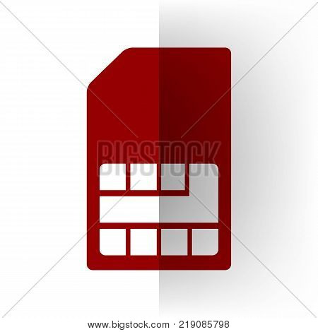 Sim card sign. Vector. Bordo icon on white bending paper background.