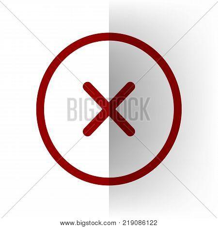 Cross sign illustration. Vector. Bordo icon on white bending paper background.