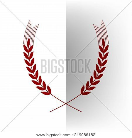 Wheat sign illustration. Spike. Spica. Vector. Bordo icon on white bending paper background.